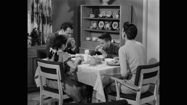 family having lunch in dining room - 1950 stock videos & royalty-free footage