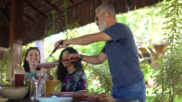 family having lunch in the tropical restaurant - northeastern brazil stock videos and b-roll footage