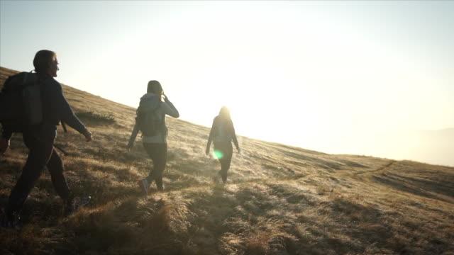 familienwanderung entlang berggipfel mit rucksäcken - drei personen stock-videos und b-roll-filmmaterial