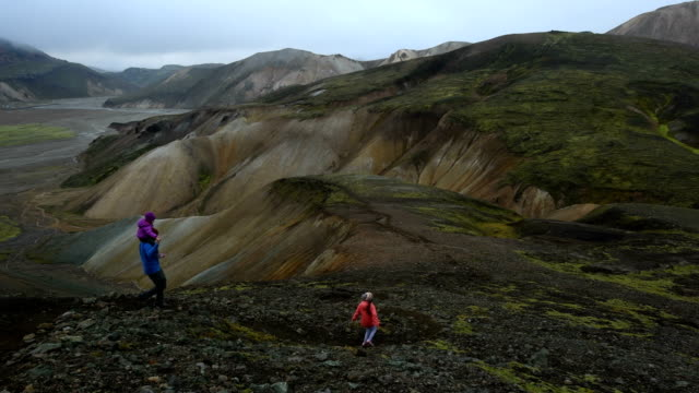 Family hiking in Landmannalaugar Iceland