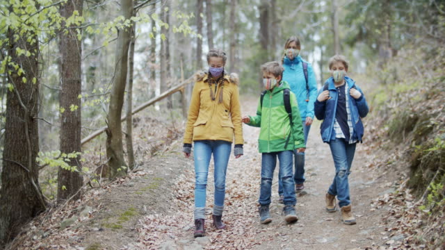 family hiking in spring forest during covid-19 pandemic - hiking stock videos & royalty-free footage