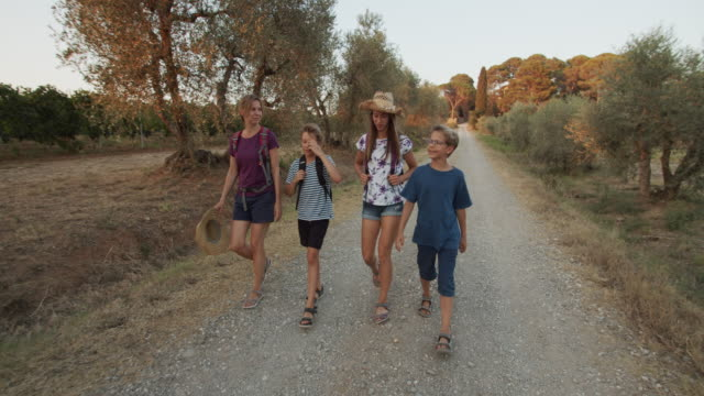 family hiking on dirt road in tuscany - full length stock videos & royalty-free footage