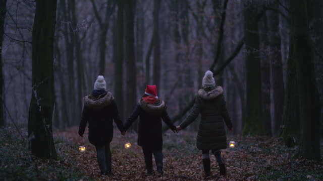 r/f family holding hands while walking through a forest with lanterns - religion stock videos and b-roll footage