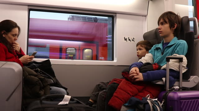 family in a train