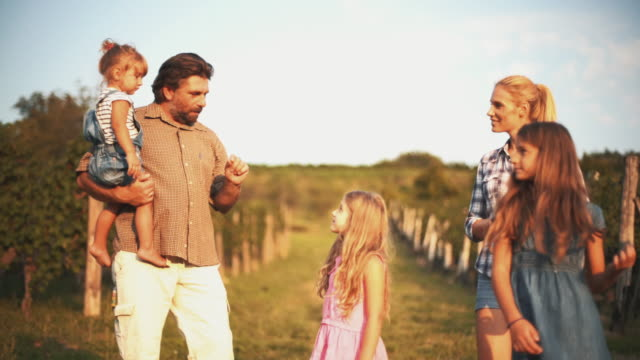 family in a vineyard. - family with three children stock videos & royalty-free footage