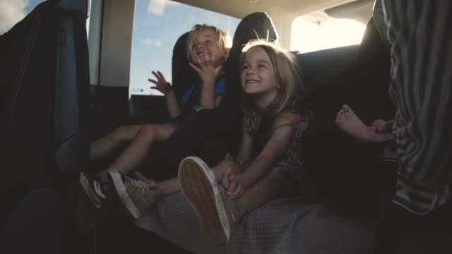 family in car - automobile video stock e b–roll