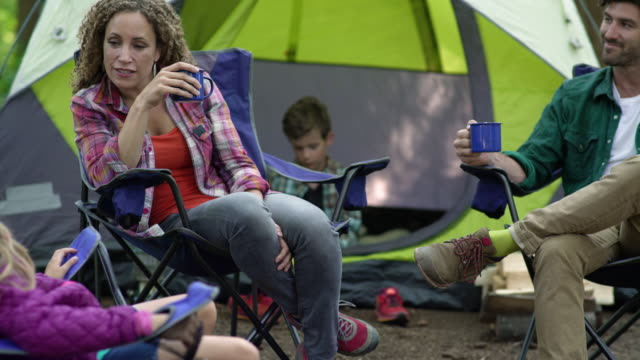 family in the morning while camping - 20 seconds or greater stock videos & royalty-free footage