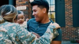 A family is reunited after a soldier returns home