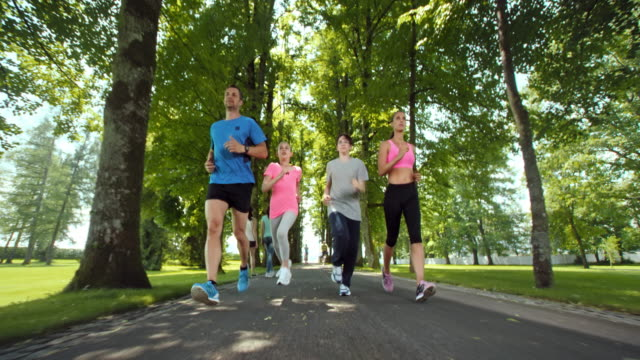 SLO MO TS Family jogging through avenue in a beautiful park