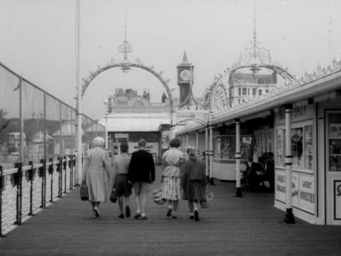 family leave brighton's palace pier. - ブライトン パレスピア点の映像素材/bロール