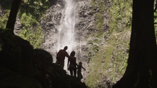 family looking at a waterfall
