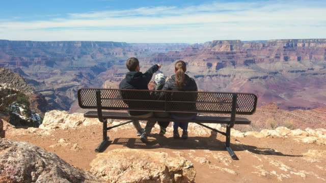 family looking at view in grand canyon national park usa - grand canyon stock videos & royalty-free footage