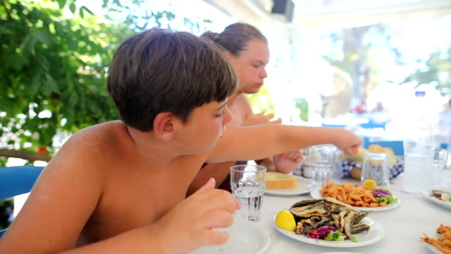 family lunch in the restaurant to the beach - body concern stock videos and b-roll footage
