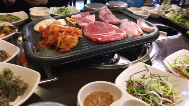 Family Lunch time with Korean BBQ , Seoul , South Korea