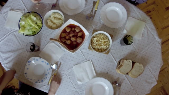 family lunch - meatballs stock videos & royalty-free footage