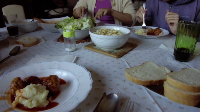 family lunch - macaroni salad stock videos & royalty-free footage