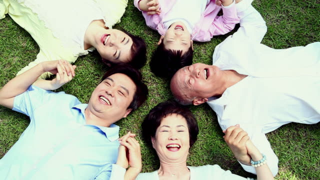 vídeos y material grabado en eventos de stock de ms zi family lying on grass and smiling / seoul, south korea - corea