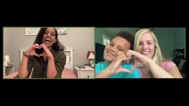 family makes heart hands and blows kisses at each other through webcam - connection stock videos & royalty-free footage