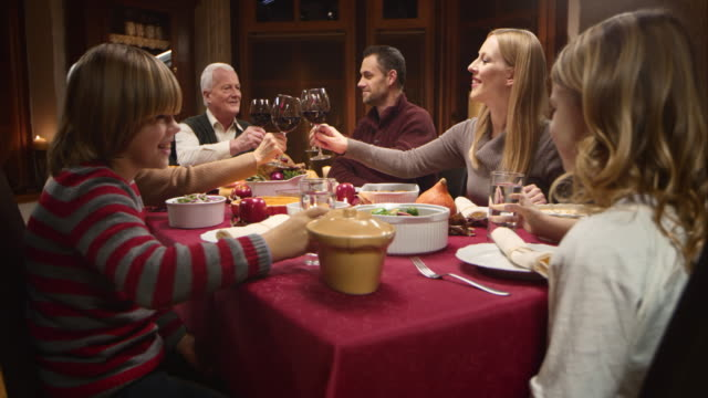 family making a toast with raised glasses at thanksgiving table - evening meal stock videos & royalty-free footage