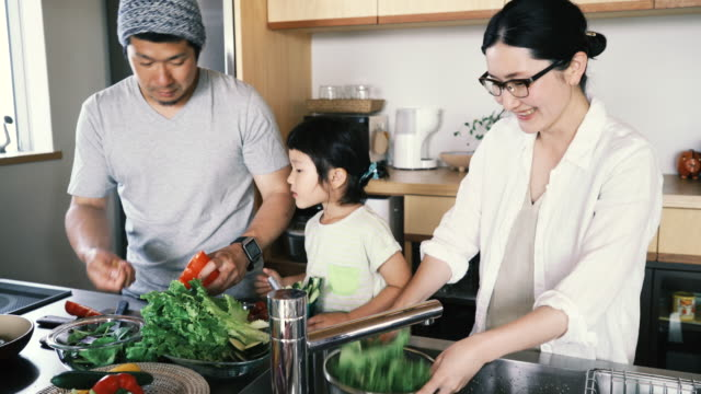 family making together a lunch in kitchen on a holiday - domestic kitchen stock videos & royalty-free footage