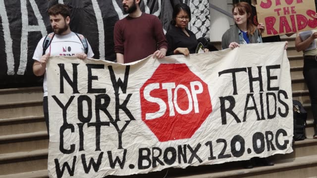 "family members and grassroots community groups rallied and marched against nypd and federal ""gang"" raids the raids are devastating communities of... - federal prison building stock videos & royalty-free footage"