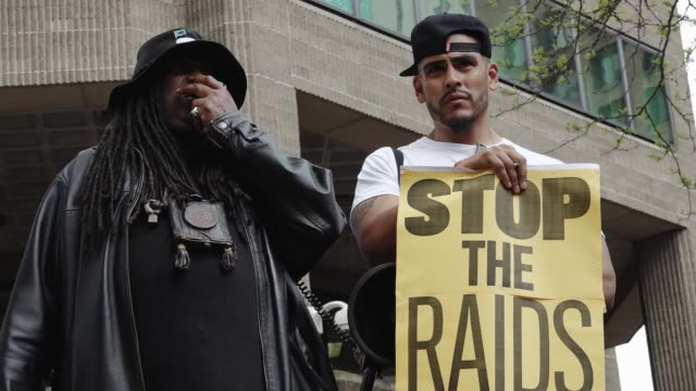 "family members and grassroots community groups rallied and marched against nypd and federal ""gang"" raids. the raids are devastating communities of... - made in usa点の映像素材/bロール"