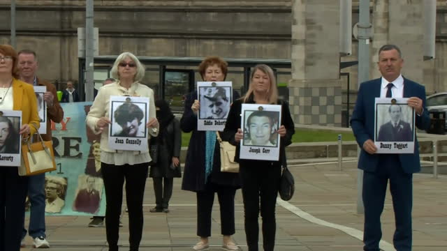 family members of people killed by british soldiers in ballymurphy outside court as they await the result of the coroner's inquest - innocence stock videos & royalty-free footage