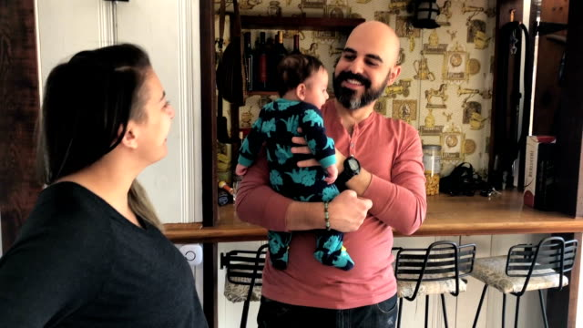 family moments - completely bald stock videos & royalty-free footage