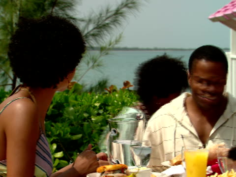 stockvideo's en b-roll-footage met ms,  family of four dinning at outdoor table in restaurant,  harbour island,  bahamas - waaierpalm