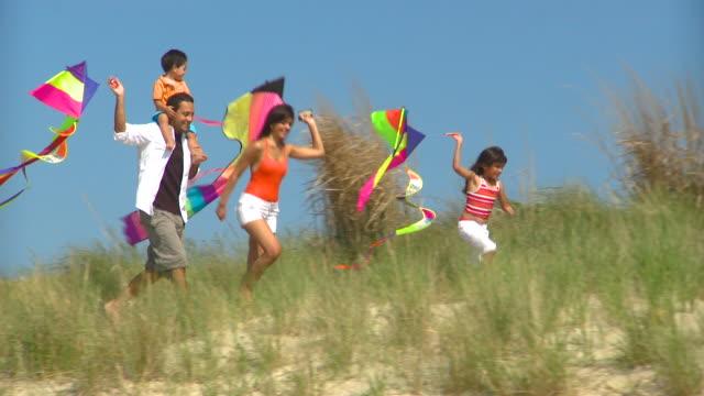 vídeos de stock, filmes e b-roll de ms pan family of four running on sand dunes on beach, eastville, virginia, usa - pipa brinquedo