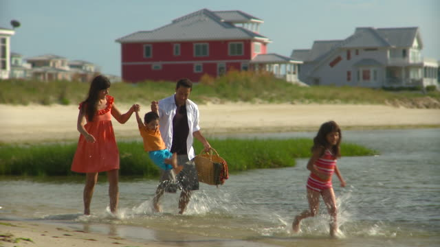 ms pan family of four walking through shallow water on beach, eastville, virginia, usa - eastville stock videos and b-roll footage