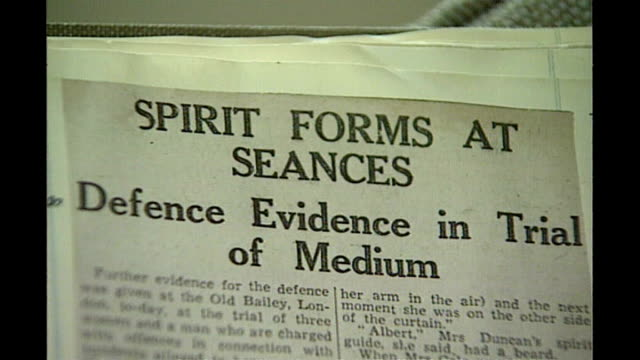 family of last british woman convicted under witchcraft act campaign for pardon tx edinburgh int newspaper article about helen duncan court case - article stock videos & royalty-free footage
