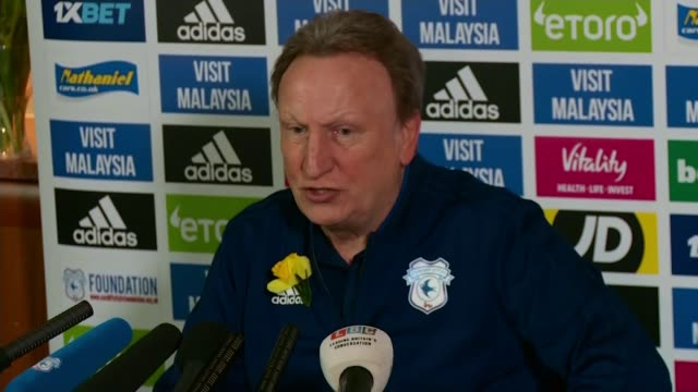 Family of missing footballer fly over area where plane disappeared WALES Cardiff INT Neil Warnock press conference SOT the most difficult week of my...