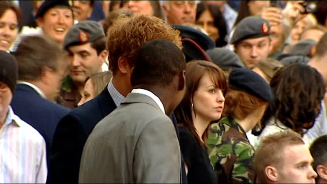 family of royal marine hero criticise compensation offer; 7.5.2008 london: st pauls cathedral: ben mcbean with prince harry 1.3.2008 oxfordshire: raf... - oxfordshire stock videos & royalty-free footage