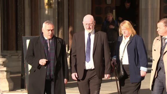 Family of soldier Geoff Gray win right to new inquest ENGLAND London Royal Courts of Justice EXT Family of Geoff Gray along from court with lawyers...