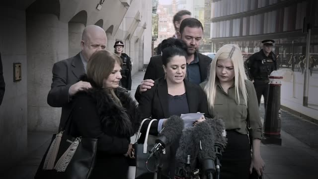 Family of Stephen Port victim criticize inquest delay T25111607 / TX Family members of victims of Port outside court as Donna Taylor speaks to press...