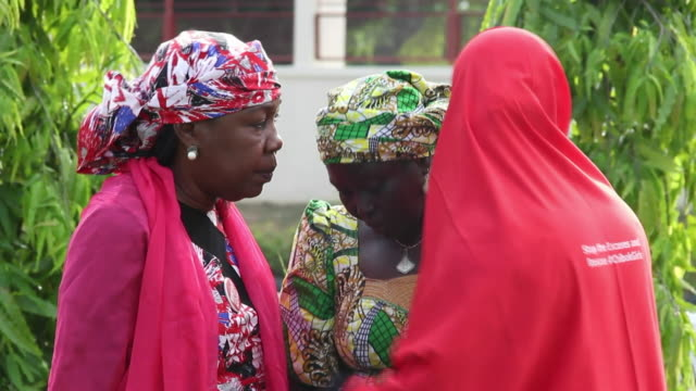family of the chibok schoolgirls express emotion after the release of many by boko haram 3 years on - girls videos stock videos & royalty-free footage