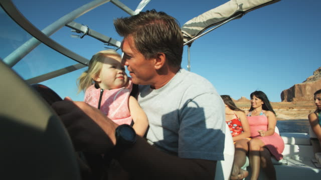 family on a boat - 12 23 mesi video stock e b–roll