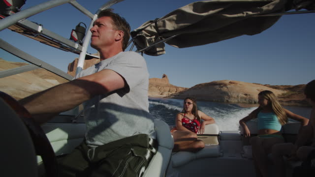 family on a boat - lake powell stock videos and b-roll footage