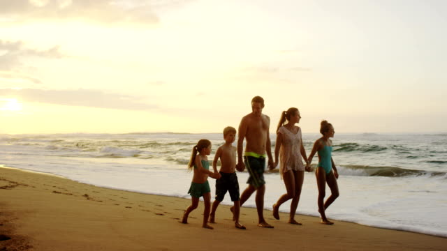 family on a tropical beach vacation to hawaii - two parents stock videos & royalty-free footage
