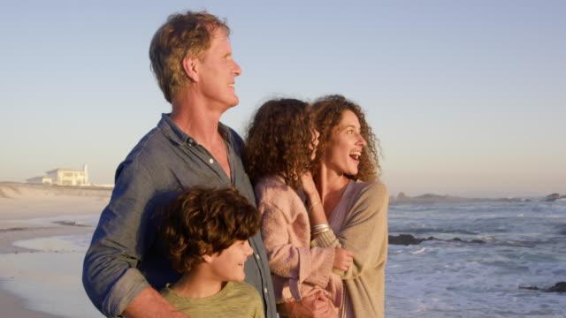 family on beach - orizzonte video stock e b–roll