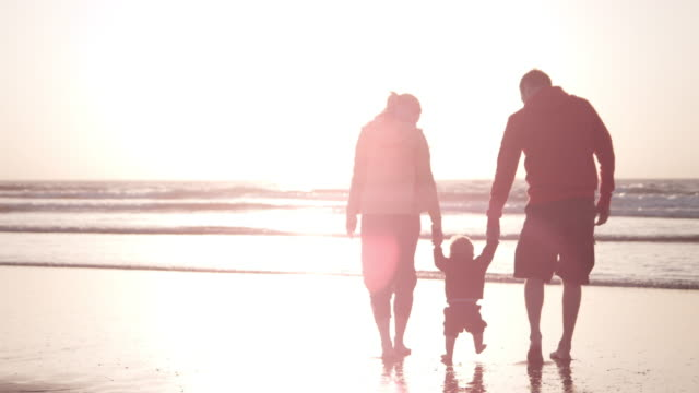 family on the beach - maine stock videos & royalty-free footage