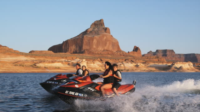 family on wave runners - water sport stock videos & royalty-free footage