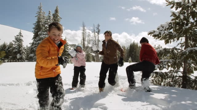 vídeos de stock e filmes b-roll de ms pan slo mo family out on beautiful winter's day having fun with snowball fight / sun valley, idaho, united states - arremessar