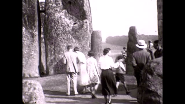 A family outing to Stonehenge in England 1936 Shots of visitors at the prehistoric site looking at the stones and posing by the ancient structures...
