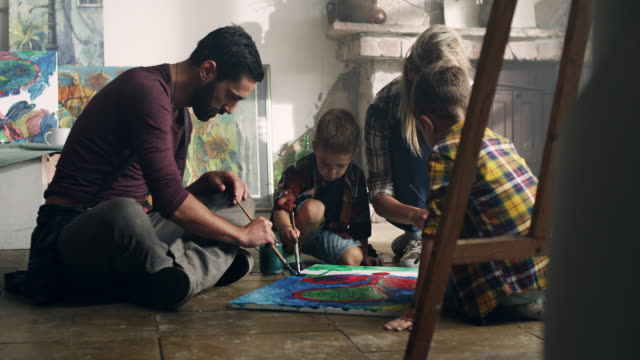 family painting - painted image stock videos and b-roll footage