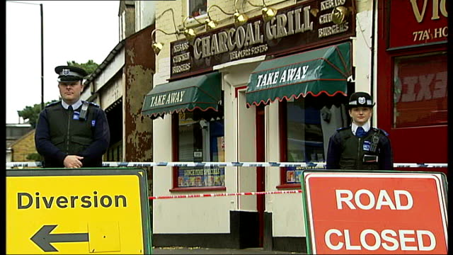 family pay tribute to fatal attack victim, paul gunner; t17101114 bexley: high street: police on duty and 'road closed' sign outside charcoal grill... - road closed sign stock videos & royalty-free footage