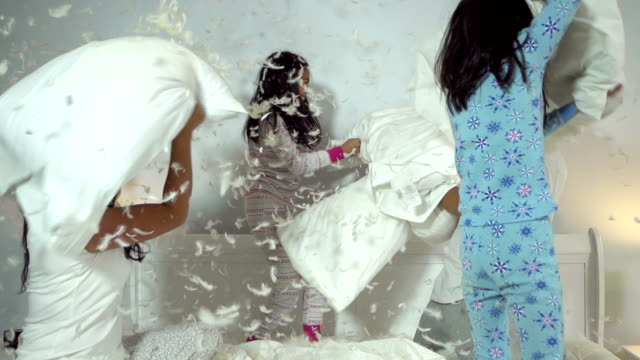 family pillow fight - pillow stock videos and b-roll footage