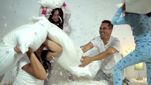 family pillow fight - two parents stock videos & royalty-free footage