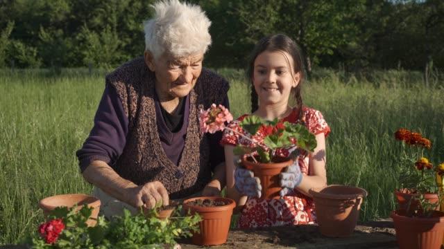 庭に花を植える家族。 - dedication点の映像素材/bロール